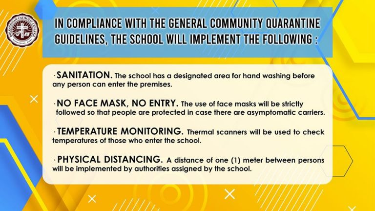 In compliance with the GCQ Guidelines the school will implement