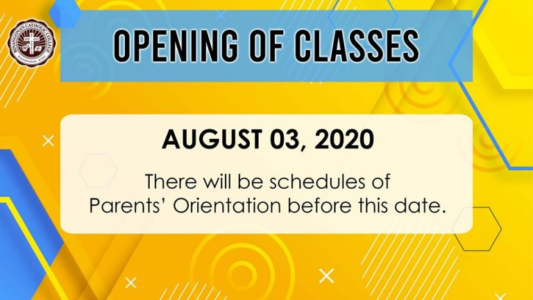 Opening of Classess - August 3 2020