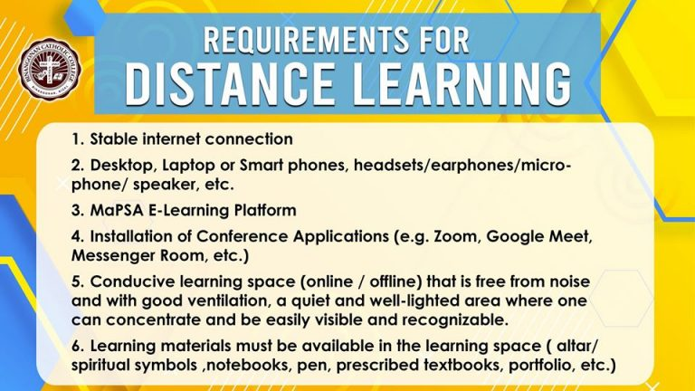 Requirements for Disctance Learning